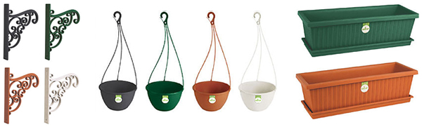 Hanging Plant Pots, Wall Brackets and Sill Planter and Saucer